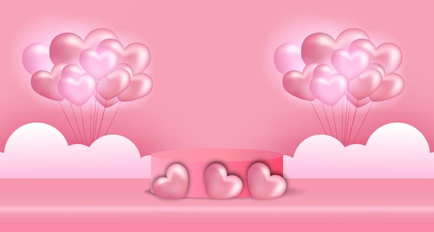 Bannière publicitaire de la saint-valentin avec affichage de produit podium cylindre 3d et forme de coeur 3d, illustration de ballon en forme de coeur