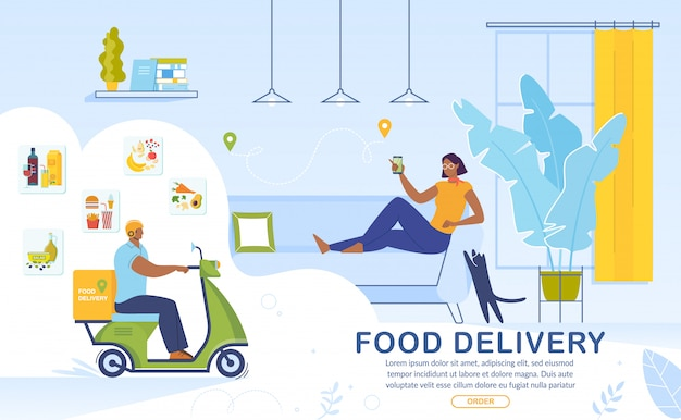 Bannière publicitaire de service en ligne de livraison de nourriture
