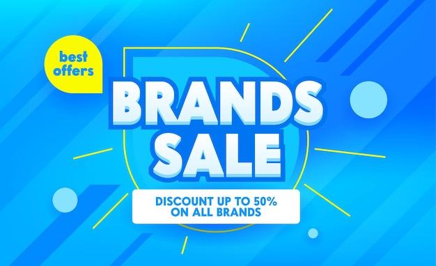Bannière publicitaire de vente de marques avec typographie.