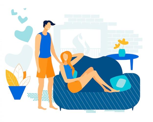Bannière de publicité couple in love summer flat.