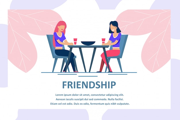 Bannière de publicité pour une amitié féminine
