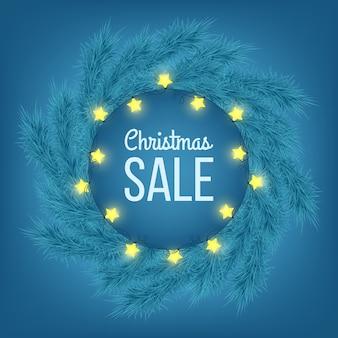 Bannière de publicité de vente de noël décorée de branches de sapin et de guirlandes lumineuses sur fond bleu, vente d'hiver, noël, conception de nouvel an, illustration vectorielle.