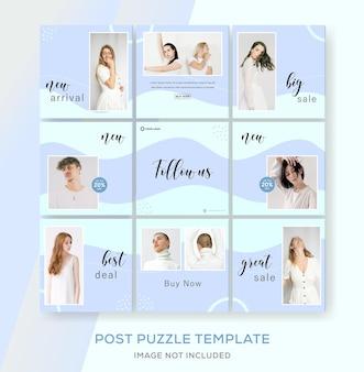 Bannière de puzzle pour modèle de publication de flux instagram