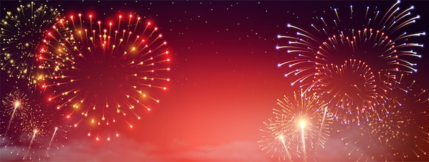 Bannière de pyrotechnie et de feux d'artifice avec des symboles de la saint-valentin réalistes