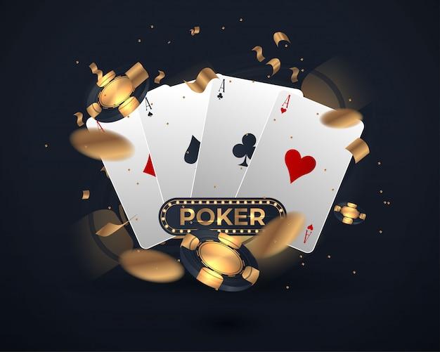 Bannière avec quatre as et plusieurs cartes à jouer au verso