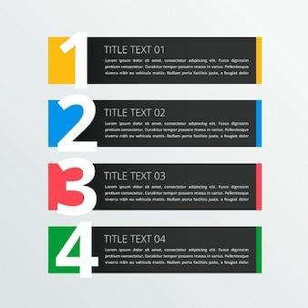 Bannière quatre étapes infographique dans le thème sombre