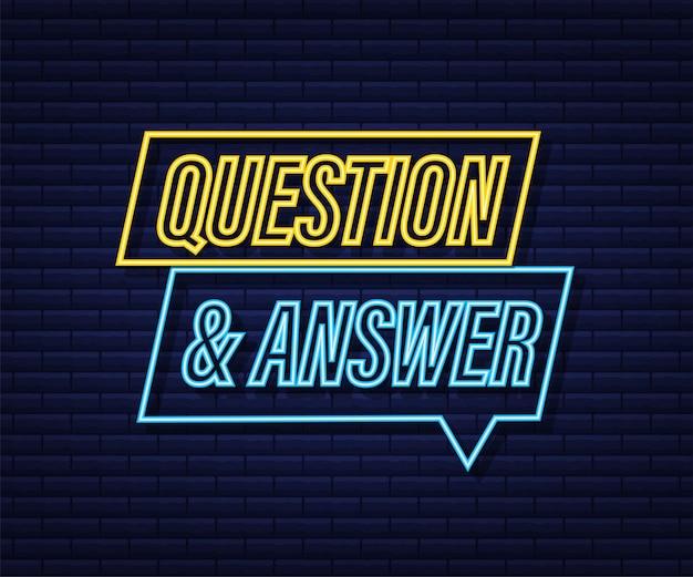 Bannière de questions et réponses. icône néon. bannière mégaphone. création de sites web. illustration vectorielle de stock.