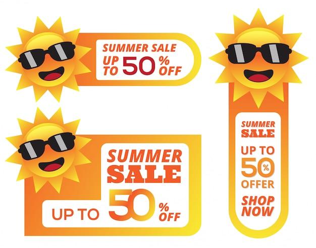 Bannière de rabais sur les soldes d'été