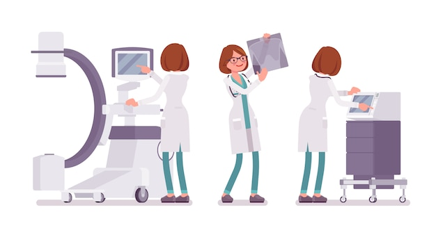 Bannière de radiographie de femme médecin