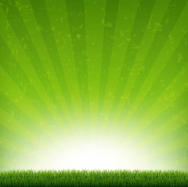 Bannière de rafale verte avec des rayons et de l'herbe