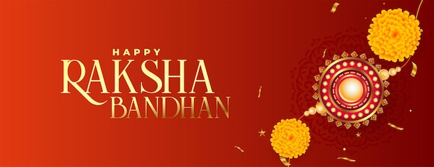 Bannière de rakhi réaliste traditionnel raksha bandhan avec fleur et riz