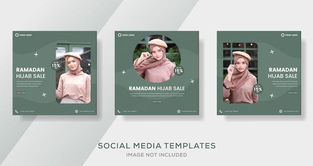 Bannière de ramadan hijab pour la publication de modèle de vente de mode