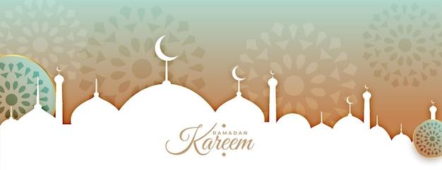 Bannière de ramadan kareem ou eid mubarak de style arabe