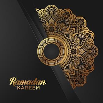 Bannière ramadan kareem en feuille d'or sur fond noir