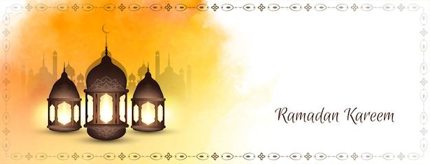 Bannière de ramadan kareem avec des lanternes