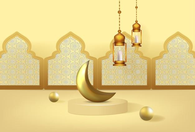 Bannière de ramadan kareem avec podium de luxe 3d et lanters