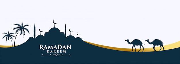 Bannière ramadan kareem de scène de mosquée et de chameau