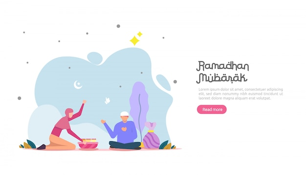 Bannière de ramadan mubarak heureux