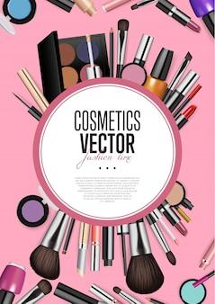 Bannière de réalisme de maquillage de mode professionnelle