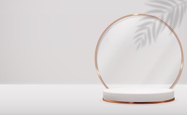 Bannière réaliste 3d avec podium de cercle et ombre de feuilles de palmier.