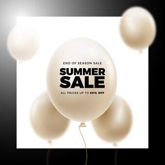 Bannière réaliste de ballons de vente d'été