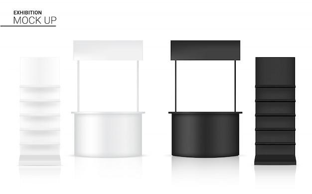 Bannière réaliste étagère kiosque affichage 3d pop stand pour vente marketing promotion fond illustration. conception de concept d'exposition événementielle.