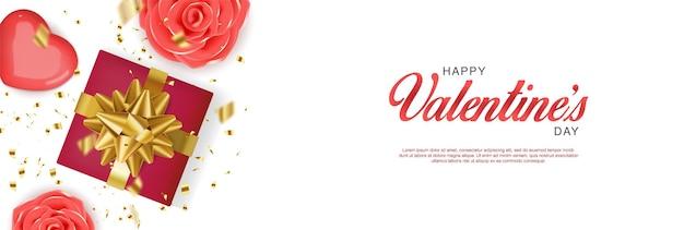 Bannière réaliste de la saint-valentin avec boîte-cadeau rouge, roses, coeurs et confettis