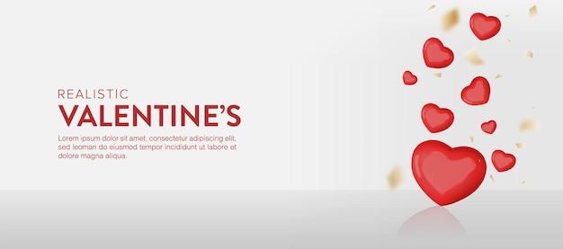 Bannière réaliste de la saint-valentin avec des coeurs tombant d'en haut