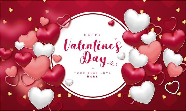 Bannière réaliste de la saint-valentin heureuse avec composition de coeurs