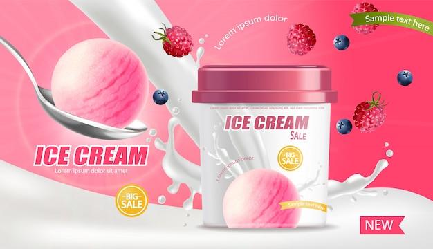 Bannière réaliste de seau de crème glacée