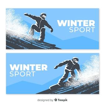 Bannière réaliste de snowboard