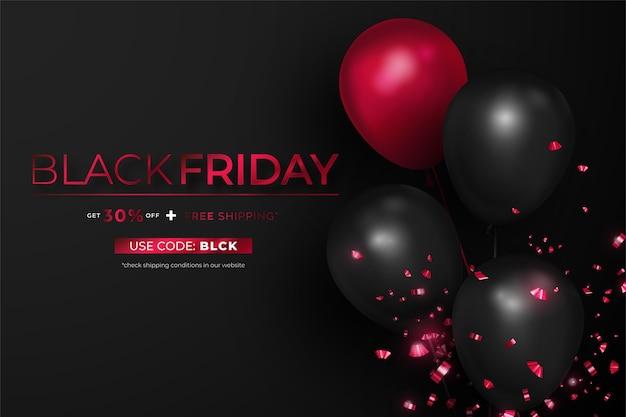 Bannière réaliste de vendredi noir avec des ballons