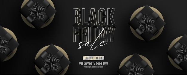 Bannière réaliste de vendredi noir avec des cadeaux