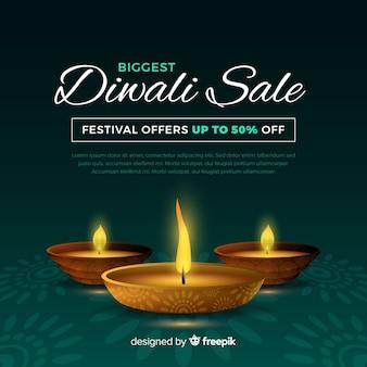 Bannière réaliste de vente de vacances de diwali