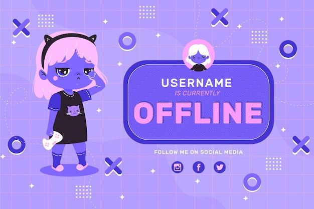 Bannière à la recherche mignonne pour la plate-forme twitch hors ligne