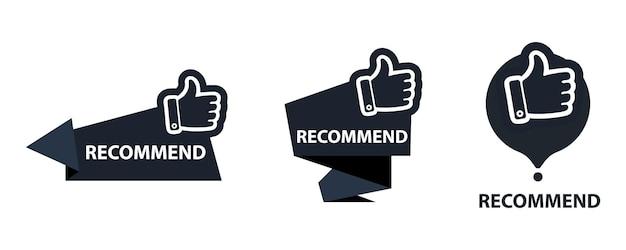 Bannière recommandée avec le pouce levé. icône de recommandation. meilleure étiquette pour une grande marque. bannière pouce vers le haut sur fond isolé.
