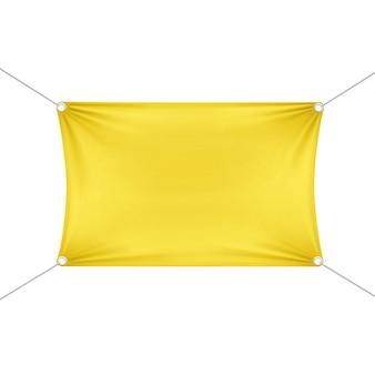Bannière rectangulaire horizontale vide vide jaune avec des cordes de coins.