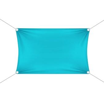 Bannière rectangulaire horizontale vide vide turquoise avec des cordes de coins.