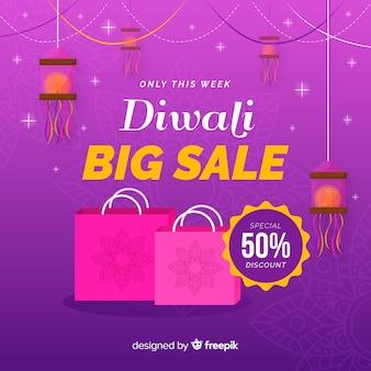 Bannière de réduction diwali au design plat