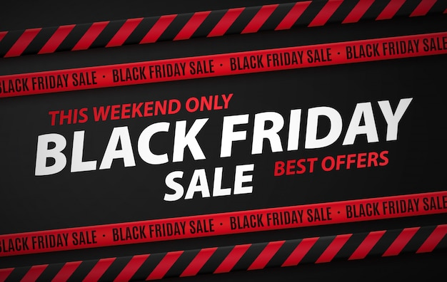 Bannière de réduction du vendredi noir, publicité avec l'inscription seulement ce week-end, les meilleures offres.