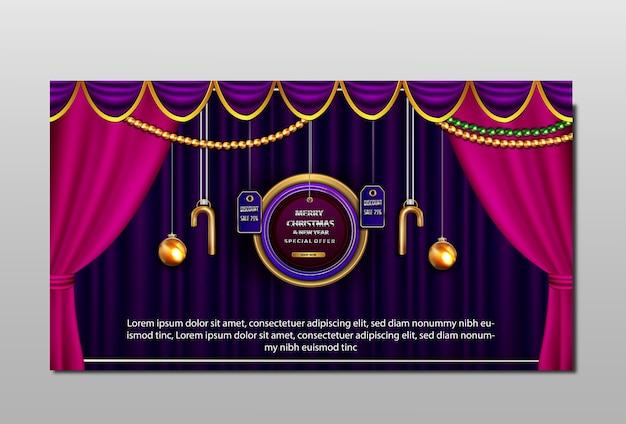 Bannière de réduction de luxe joyeux noël et nouvel an