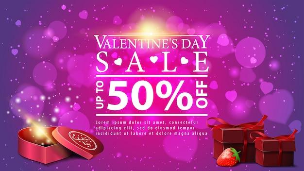 Bannière de réduction pour la saint-valentin