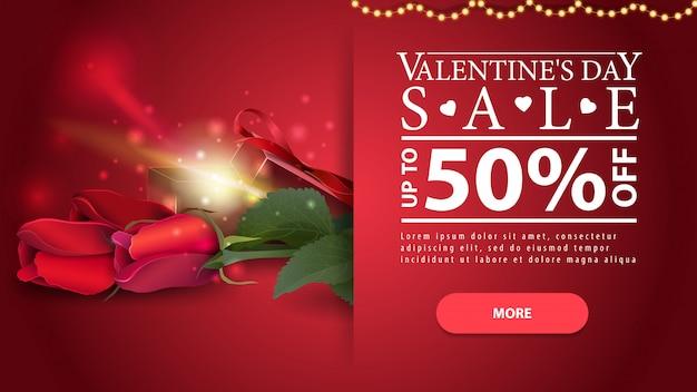 Bannière de réduction rouge horizontale saint-valentin