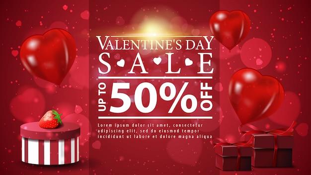 Bannière de réduction de saint valentin sur fond rouge avec des cadeaux
