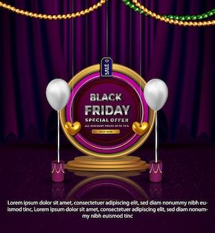 Bannière de réduction vendredi noir spécial valentines