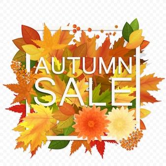 Bannière de réduction de vente automne