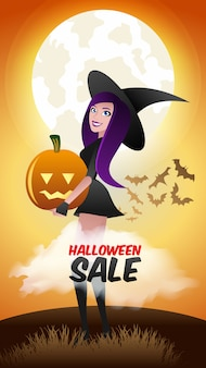 Bannière de réduction de vente halloween. sorcière et citrouille