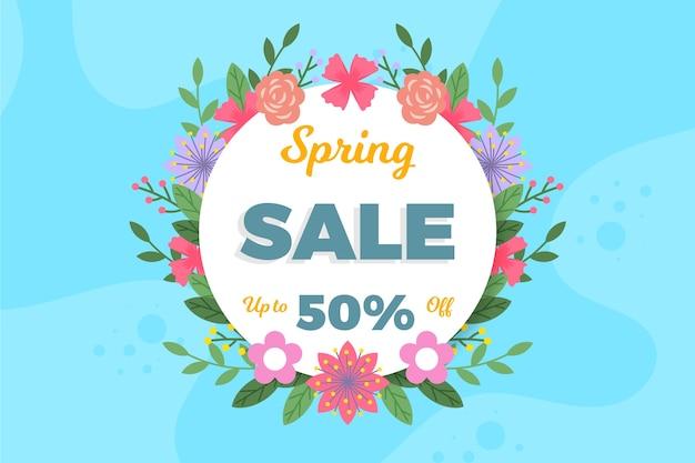 Bannière de réduction vente printemps design plat