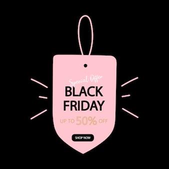 Bannière de réduction de vente vendredi noir.