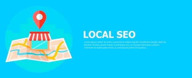 Bannière de référencement local, carte et boutique en vue réaliste.
